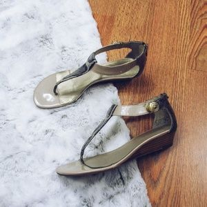 Snake Print T-Strap Sandals